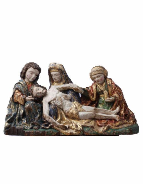 Scultura in legno di Jan van Steffeswert Maastricht Compianto su Cristo morto