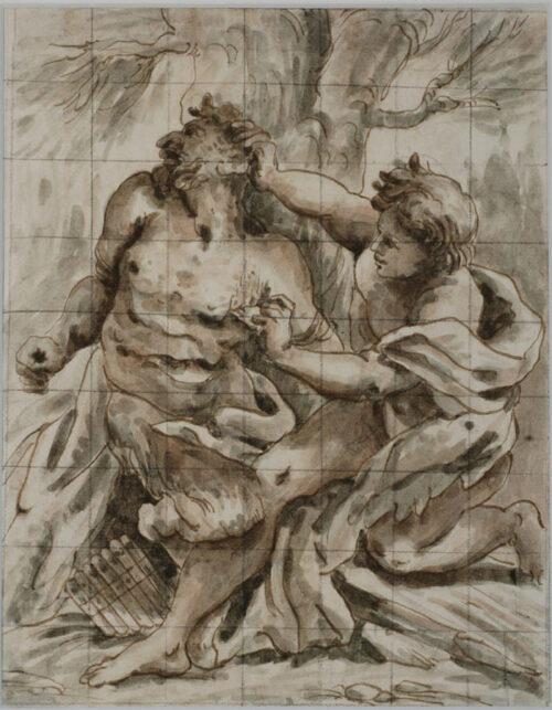 Disegno di Paolo Pagani Apollo e Marsia Penna inchiostro bruno acquerello e matita nera su carta