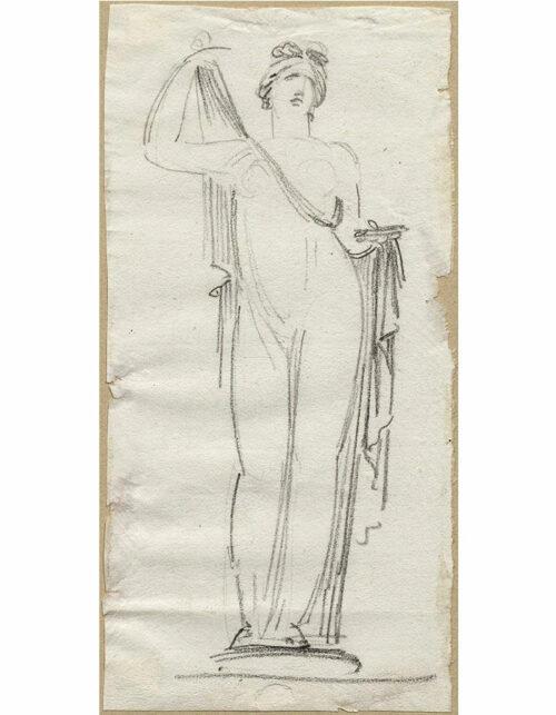 Disegno a matita su carta di Jean Pierre Saint Ours