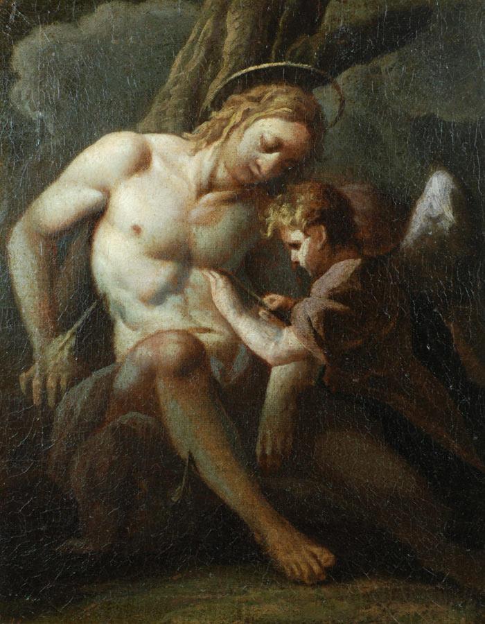 Dipinto di Carlo Bononi Ferrara San Sebastiano curato da un angelo Olio su tela