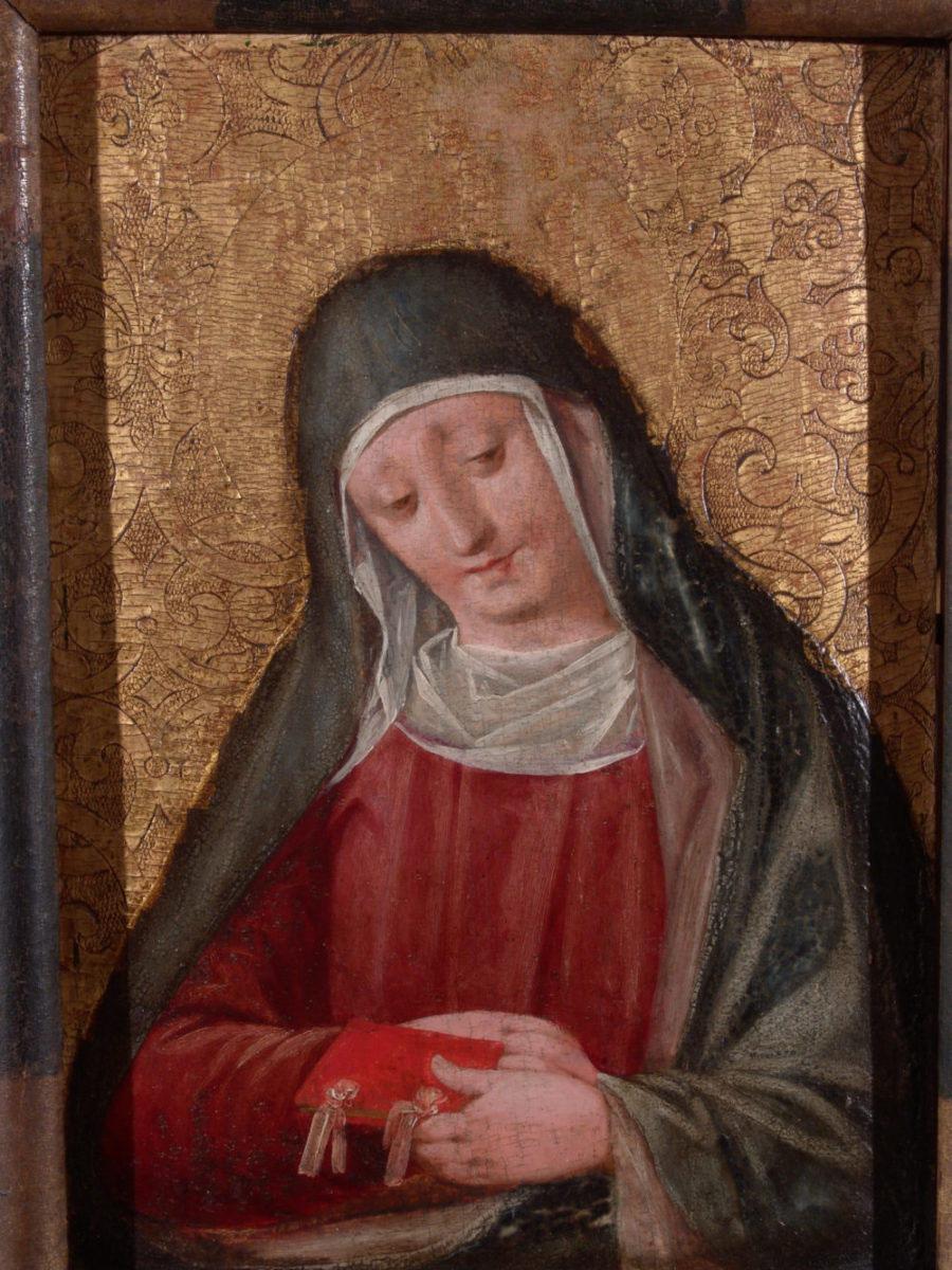ANDREA SABATINI ANDREA DA SALERNO Santa fondo oro opera quadropreghiera quadro operafondo oro