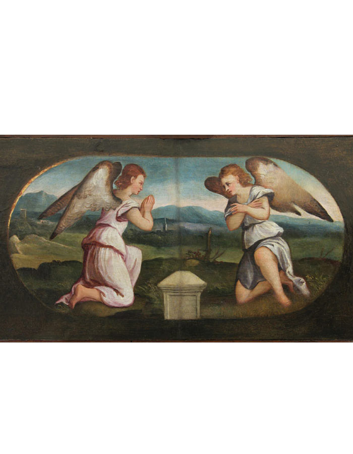 Olio su tavola di Gerolamo Romanino e bottega Angeli in adorazione del Sepolcro