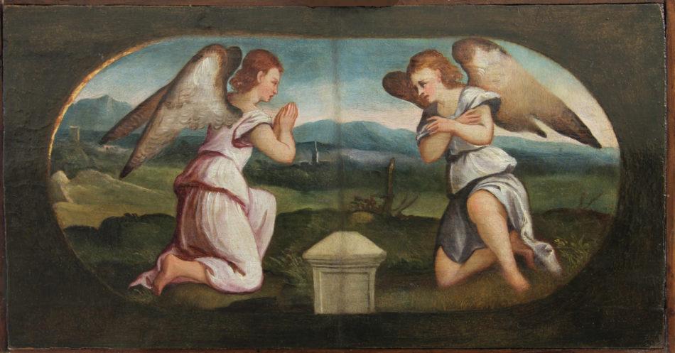 GEROLAMO ROMANINO Angeli in preghiera opera quadro