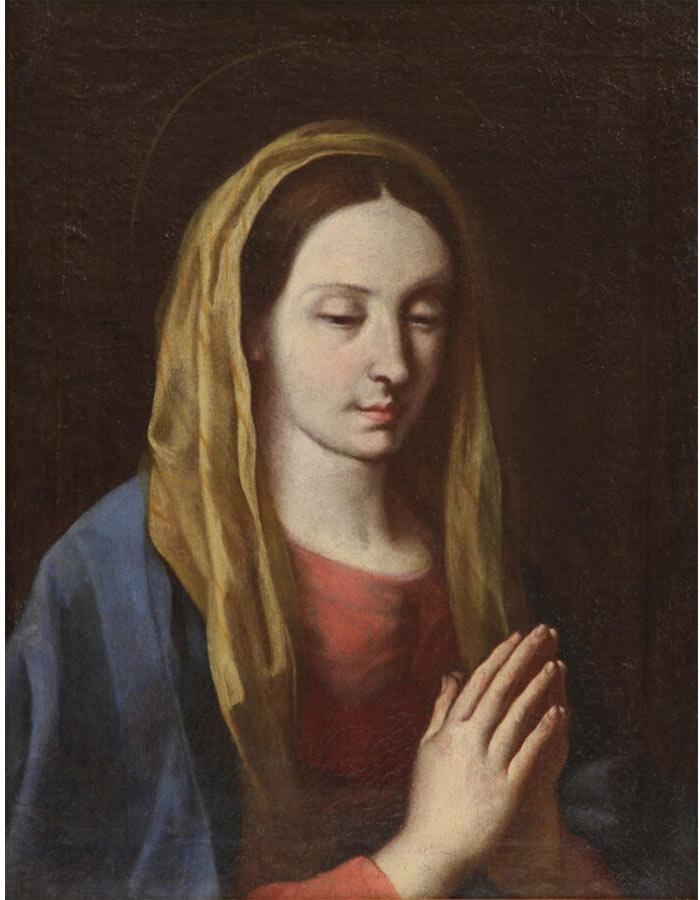 Dipionto di Giovanni Francesco Guerrieri Madonna in preghiera Olio su tela