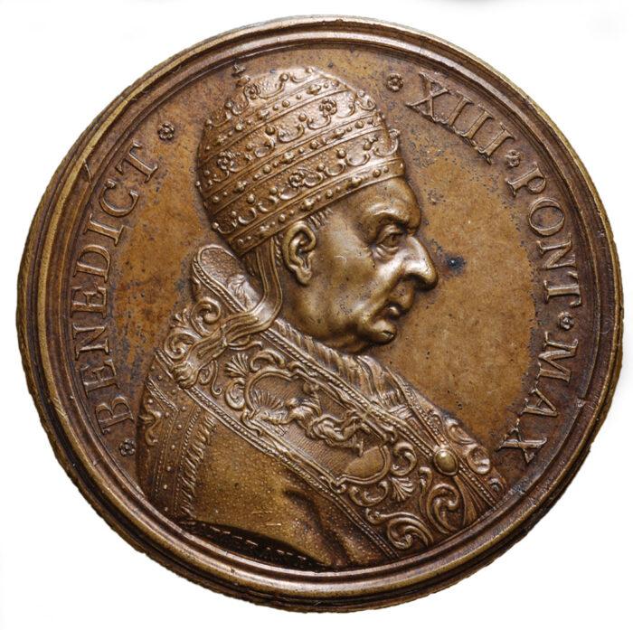 Medaglia in bronzo di Papa Benedetto XIII Accademia di san Luca