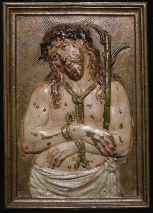 Placchetta smaltata in bronzo Hecce Homo