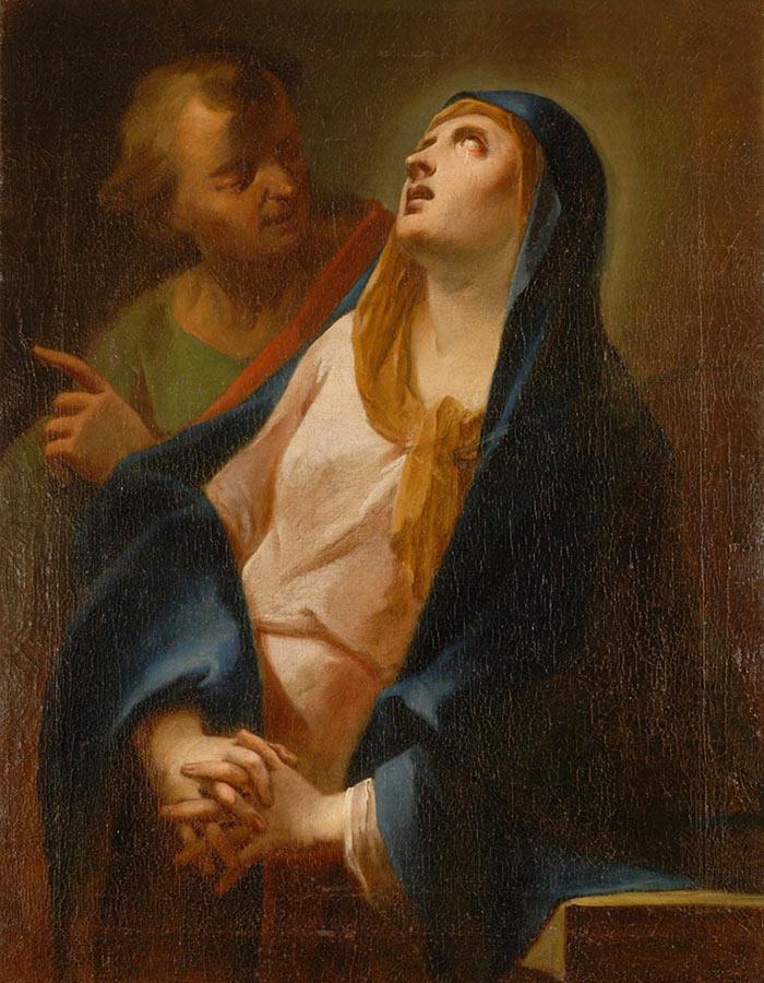 Dipinto su tela Giovan Battista Cantalupi di Miasino Vergine Addolorata consolata da San Giovanni