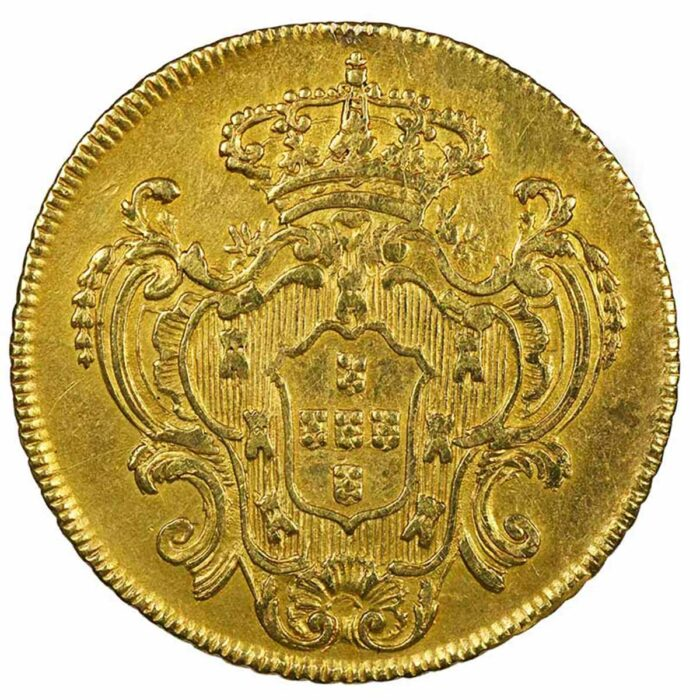 Moneta in oro del Brasile 6400 Reis della Regina Maria