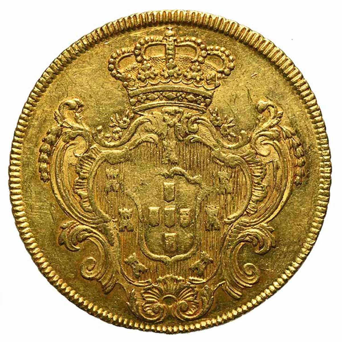 Moneta in oro del Brasile 6400 Reis o peca di Re Pedro III e Maria