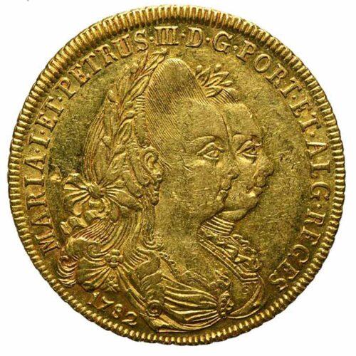 Moneta in oro del Brasile 6400 Reis o peca 1782 di Maria e Pedro III