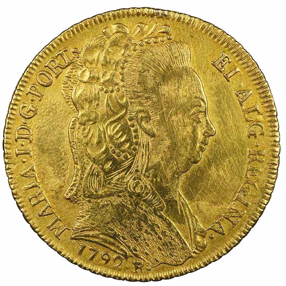 Moneta in oro del Brasile 6400 Reis o peca della Regina Maria