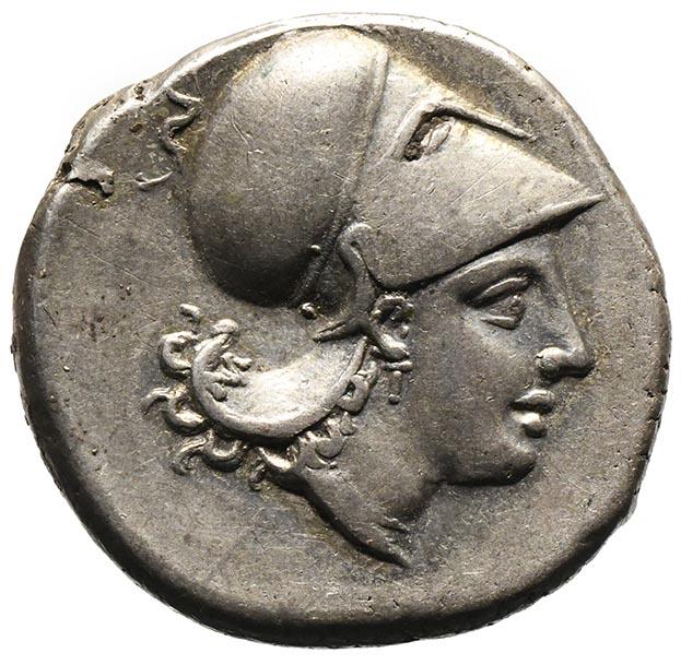 Moneta in argento di Locri Statere con Atena e pegaso
