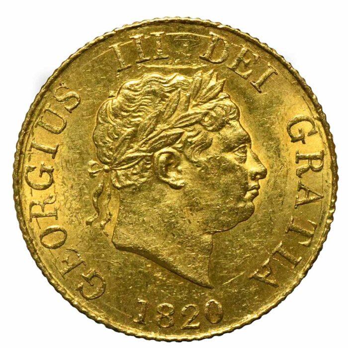 Gran Bretagna Moneta d'oro di Re Giorgio III Mezza sterlina 1820