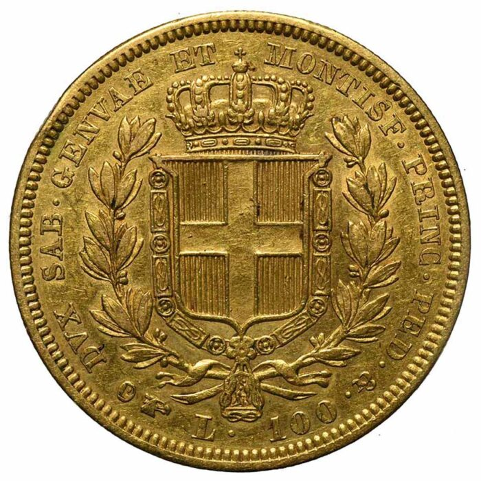 Moneta in oro di Carlo Alberto di Savoia 100 lire 1834