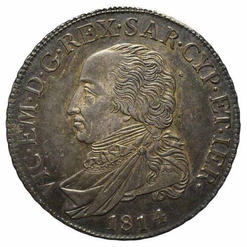 Moneta in argento di Vittorio Emanuele di Savoia Mezzo scudo 1814