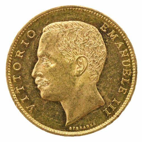 Moneta in oro del re d Italia Vittorio Emanuele III di Savoia 20 lire 1905