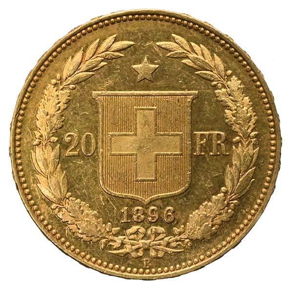 Confederazione Svizzera Marengo 20 franchi Helvetia oro