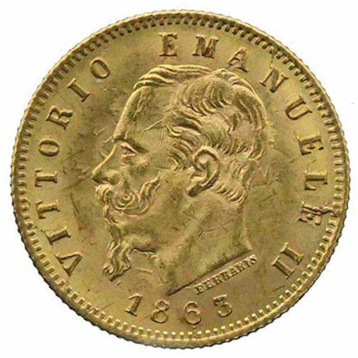 Moneta in oro di re Vittorio Emanuele II di Savoia 5 lire 1863