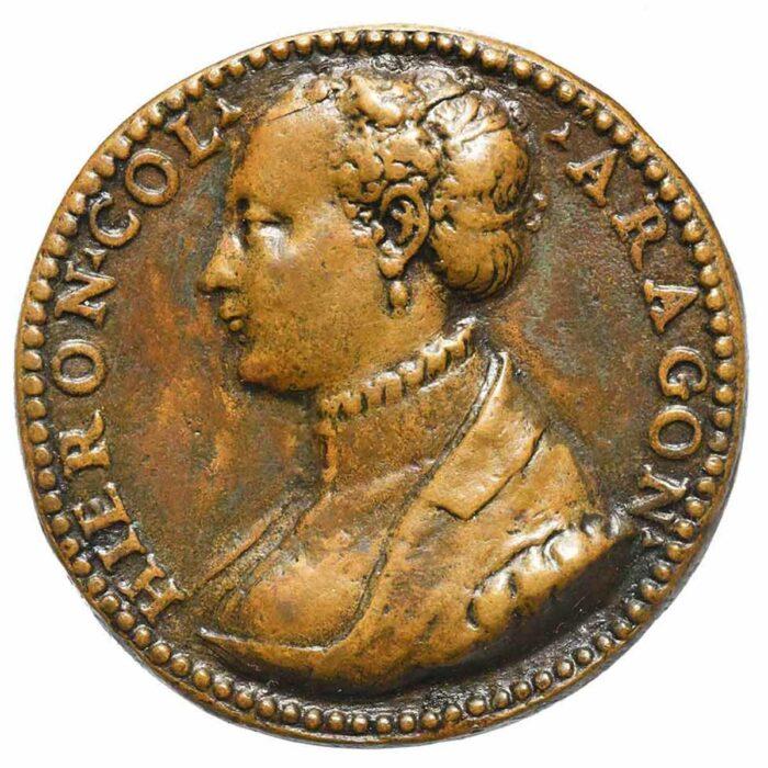 Medaglia in bronzo di Girolama Colonna con ritratto