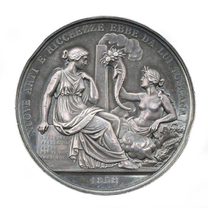 Medaglia 1858 in argento di Francesco di Larderel conte di Montecerboli