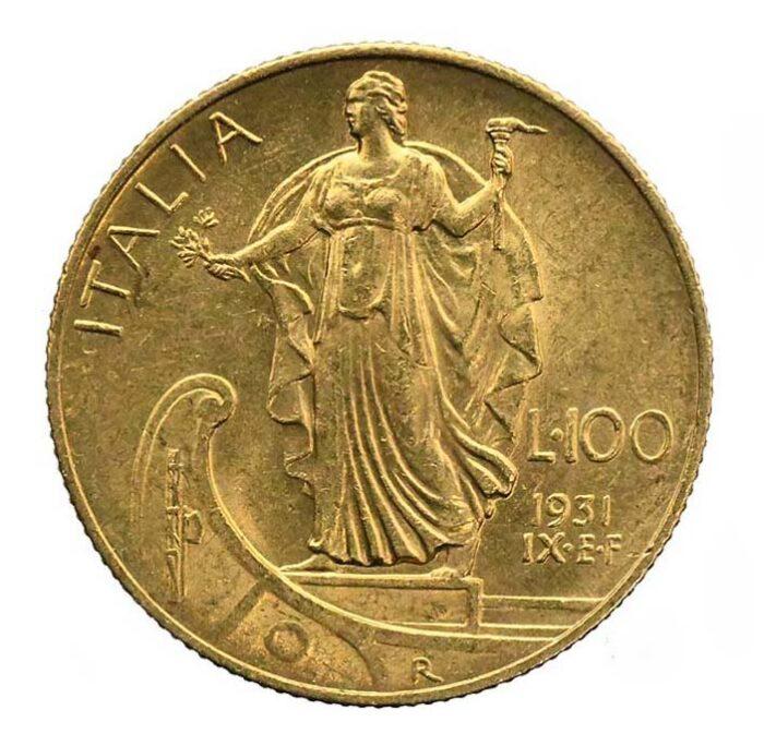 Moneta in oro di re Vittorio Emanuele III di Savoia 100 lire 1931