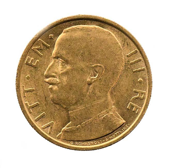 Moneta in oro di re Vittorio Emanuele III di Savoia 50 lire 1931