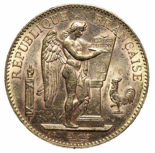 Moneta in oro Francia 100 franchi 1907 con Genio alato