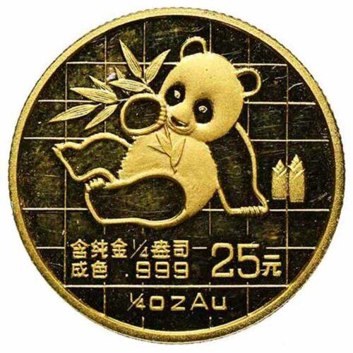 Moneta in oro della Cina 25 yuan 1989 con palazzo imperiale e panda