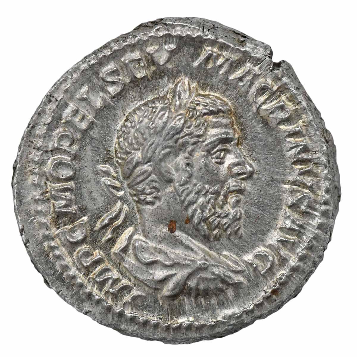 Moneta in argento di Roma Denario di Macrino