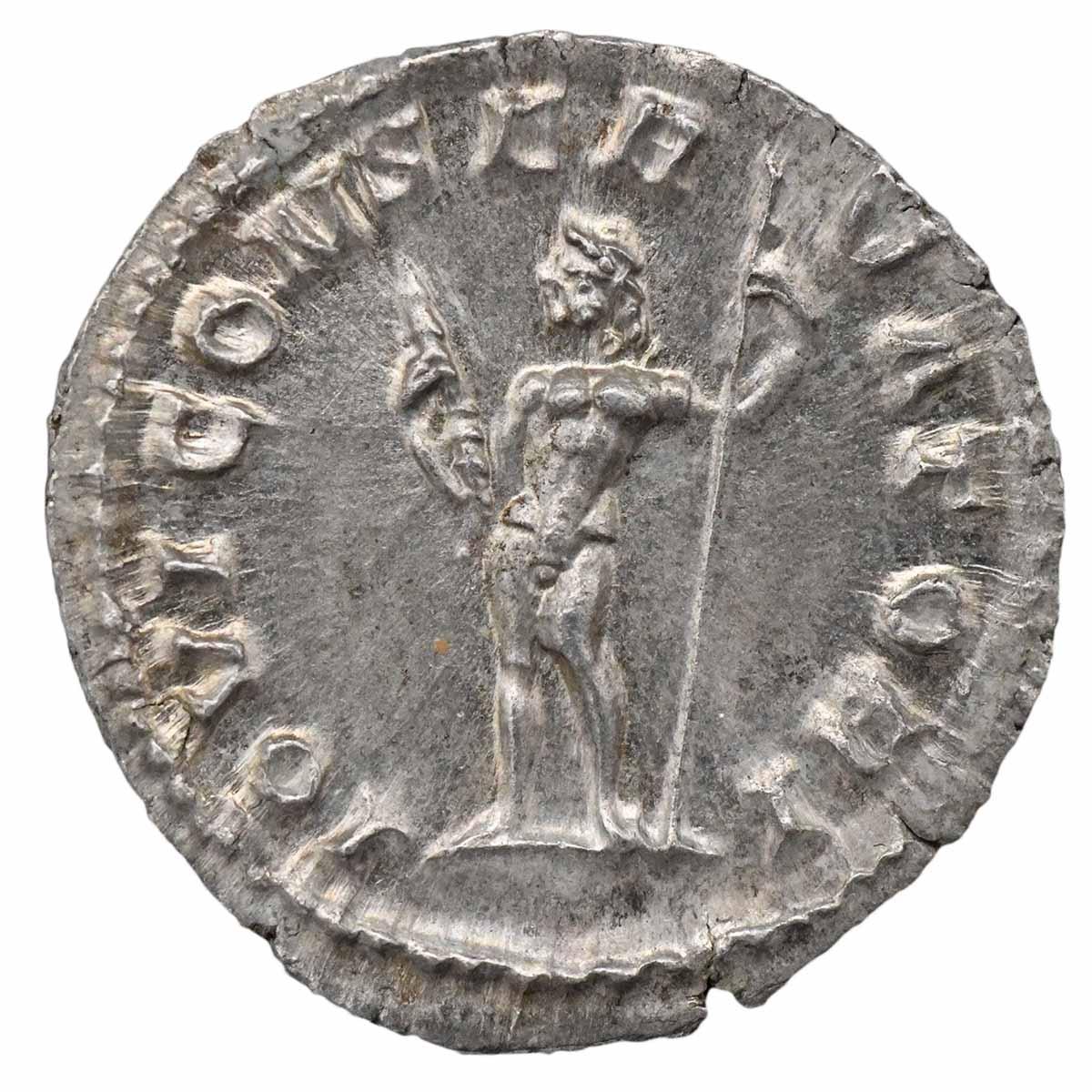 Moneta in argento di Roma Denario di Macrino con Giove
