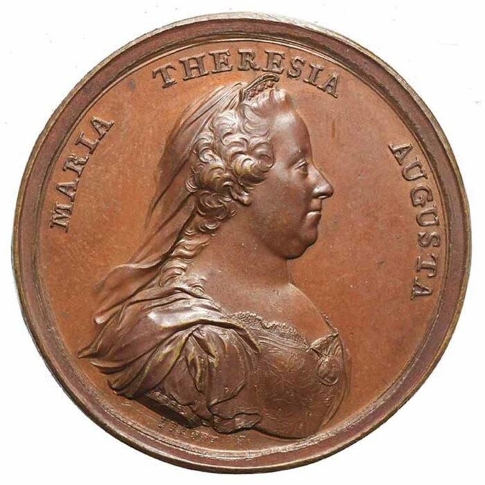 Medaglia in bronzo di Maria Teresa d'Austria per Orfanotrofi di Mantova e Milano