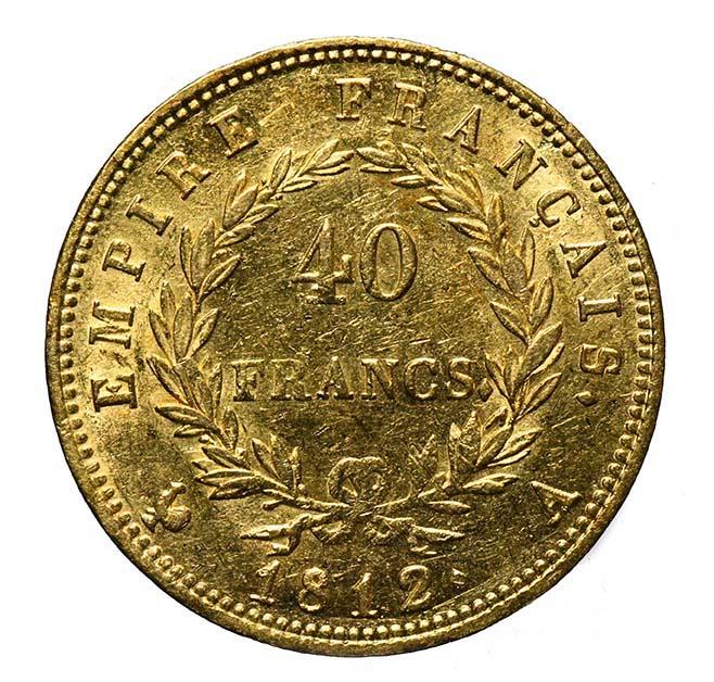 Francia Moneta in oro di Napoleone Bonaparte 40 Franchi 1812