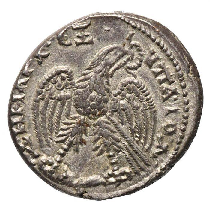 Moneta in argento di Caracalla coniata ad Antiochia Tetradracma con aquila