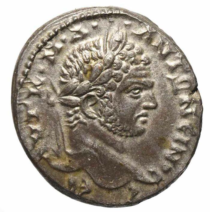 Moneta in argento di Caracalla coniata ad Antiochia Tetradramma con aquila