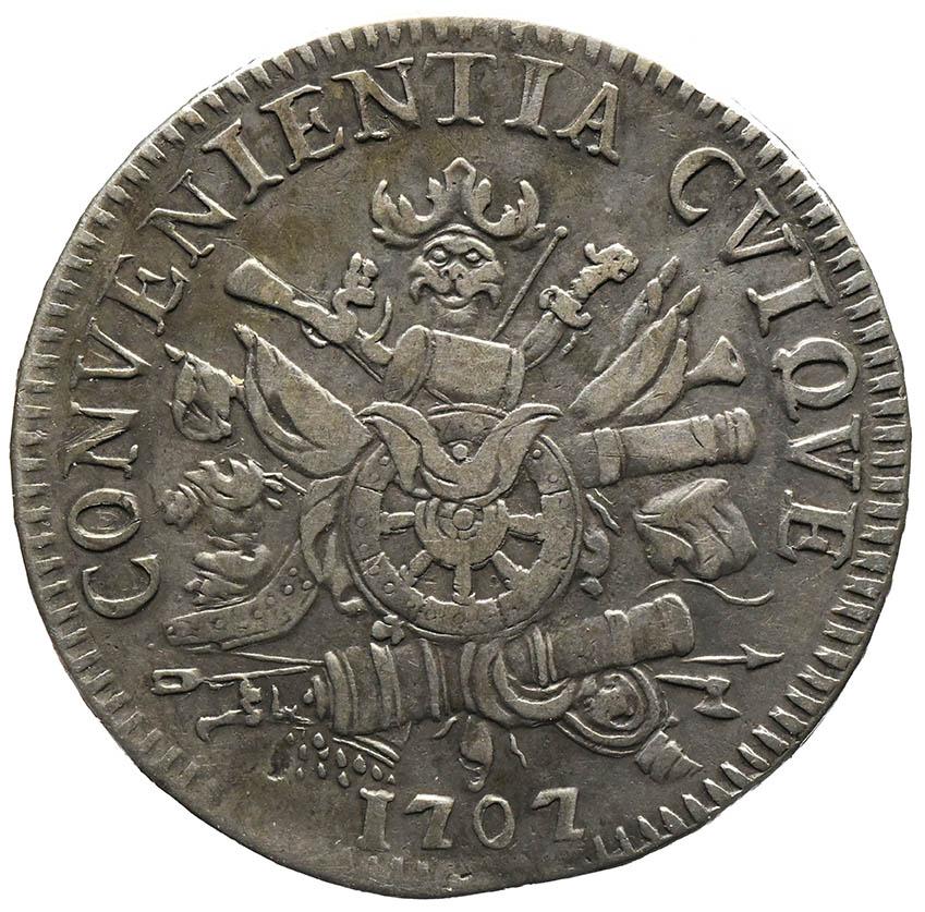 Moneta in argento dei Gonzaga di Mantova Scudo 1707 con trofeo d'armi