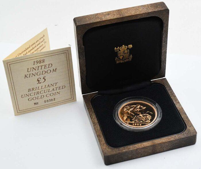 Gran Bretagna Moneta d'oro della regina Elisabetta 5 sterline 1988