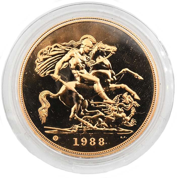 Regno Unito Moneta d'oro della regina Elisabetta 5 sterline 1988 con San Giorgio